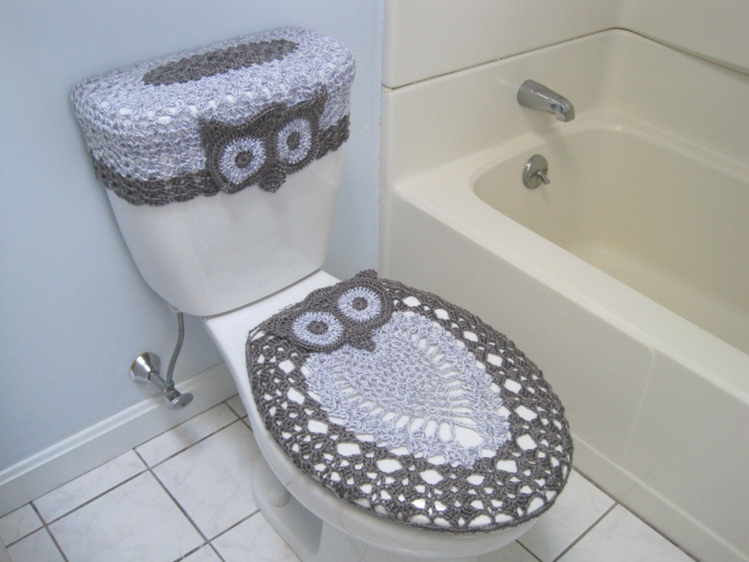 Peachy Crochet Set Of Owl Toilet Tank Lid And Toilet Seat Covers Cjindustries Chair Design For Home Cjindustriesco
