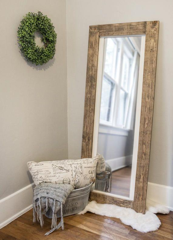 Full Size Mirror In Living Room Interior Design Apartment Rustic Floor Length Wooden Frame