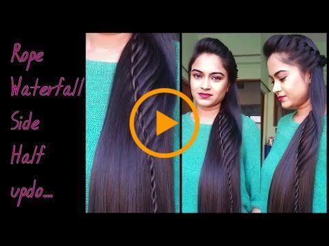 Peinados para cabello medio a largo _Rope waterfal half updo / peinados de fiesta indios
