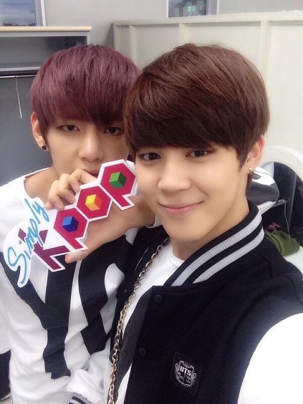 simply kpop uploads selca of taehyung and jimin | Kim ...