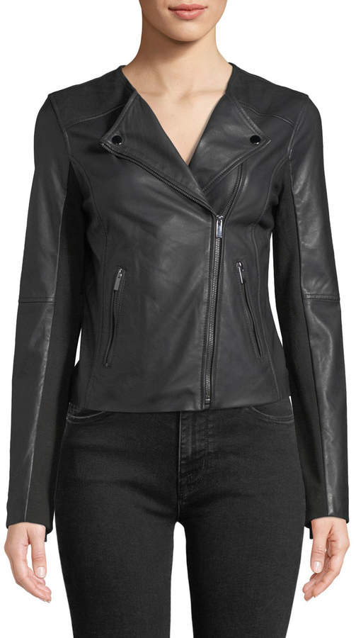 b1e0bebe0 Bagatelle Collarless Smooth-Leather Biker Jacket | Products ...
