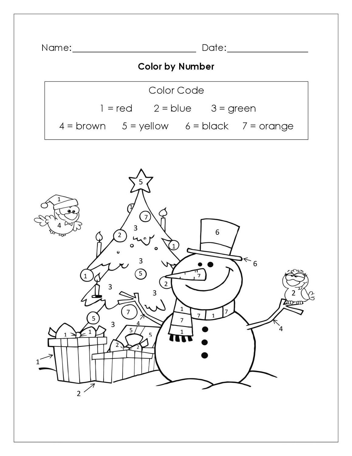 Christmas Themed Math Coloring Worksheet