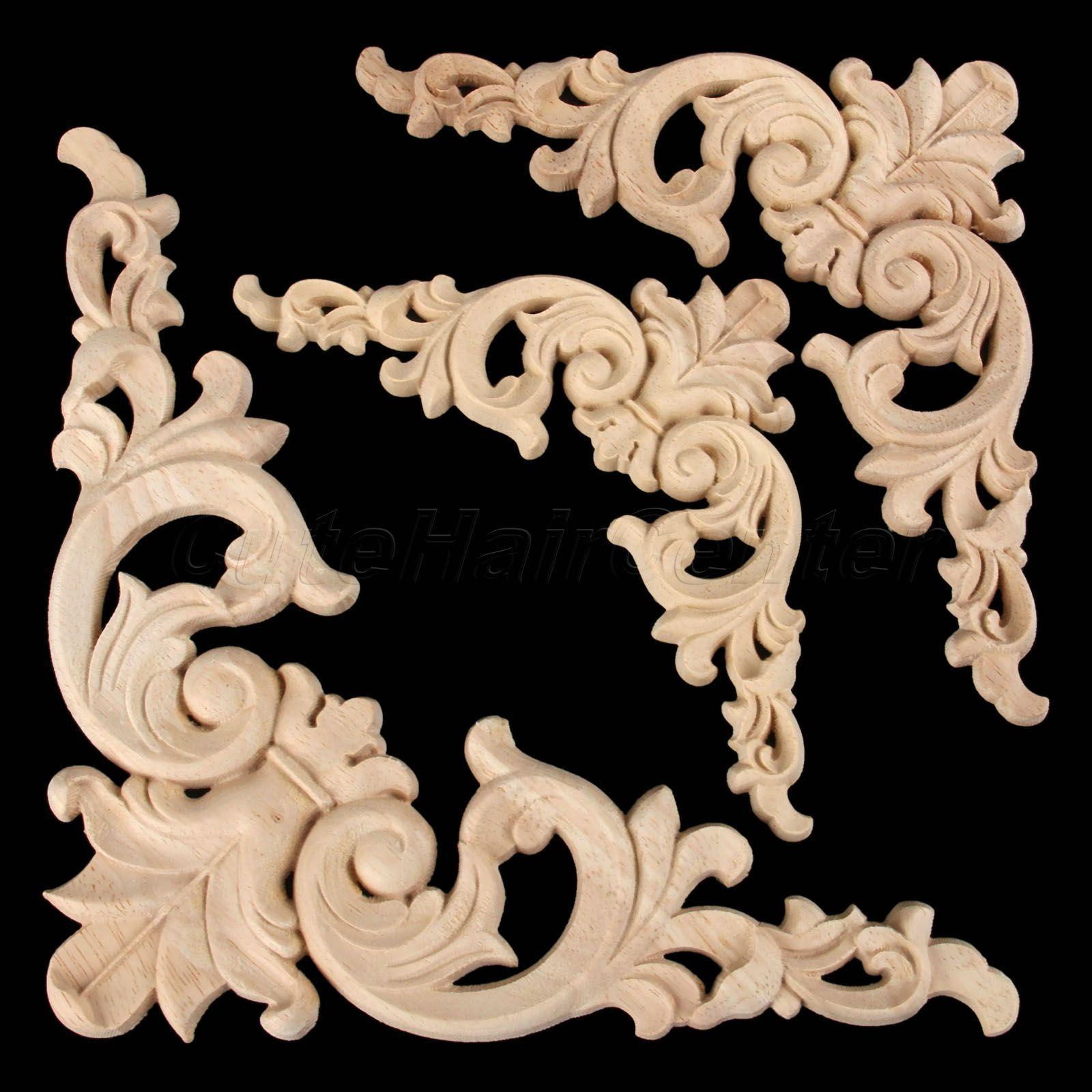 8*8*0.8cm Wood Carved Corner Onlay Applique Unpainted Furniture Door Home Decor