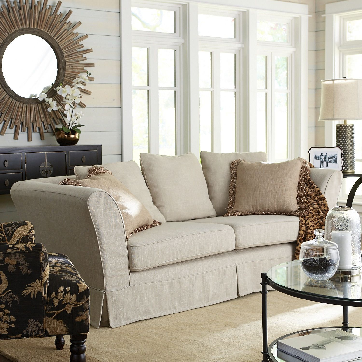 Excellent Portia Slipcovered Sofa Flax Pier 1 Imports Oui Sofa Ocoug Best Dining Table And Chair Ideas Images Ocougorg