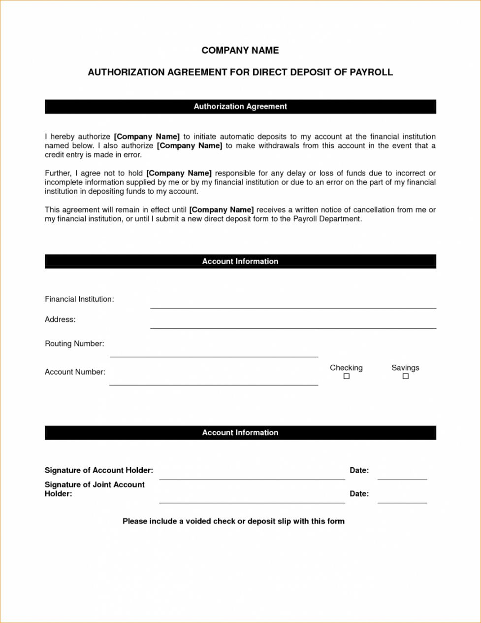 Browse Our Example Of Direct Deposit Agreement Form Template For Free Directions Templates Word Template Direct deposit authorization form template