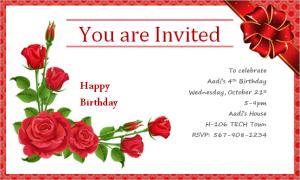 Happy Birthday Invitation Card At Word Documents