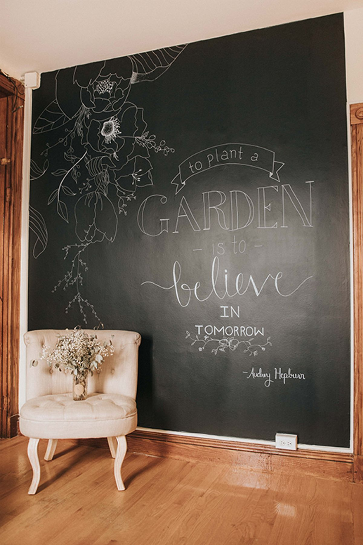 How To Temporary Chalkboard Wall Hand Lettered Quote Poptalk