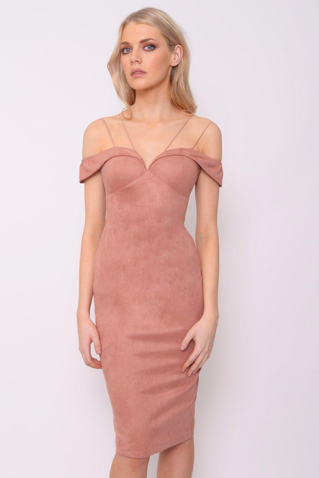 Dusky Pink Suedette Bardot Midi Dress | Rare London | Fashion ...
