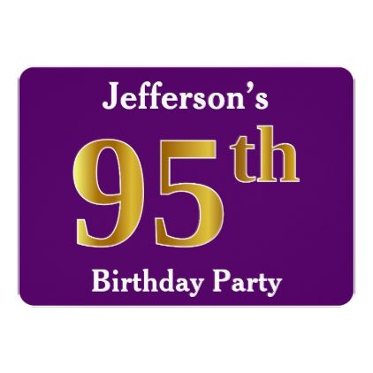 Purple Faux Gold 95th Birthday Party Custom Name Card