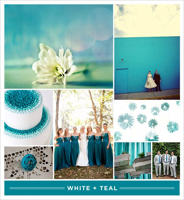 Beautiful Colors That Go With Teal Part - 14: Colors That Go With Teal | White +] Teal | Brooklyn Bride - Modern Wedding