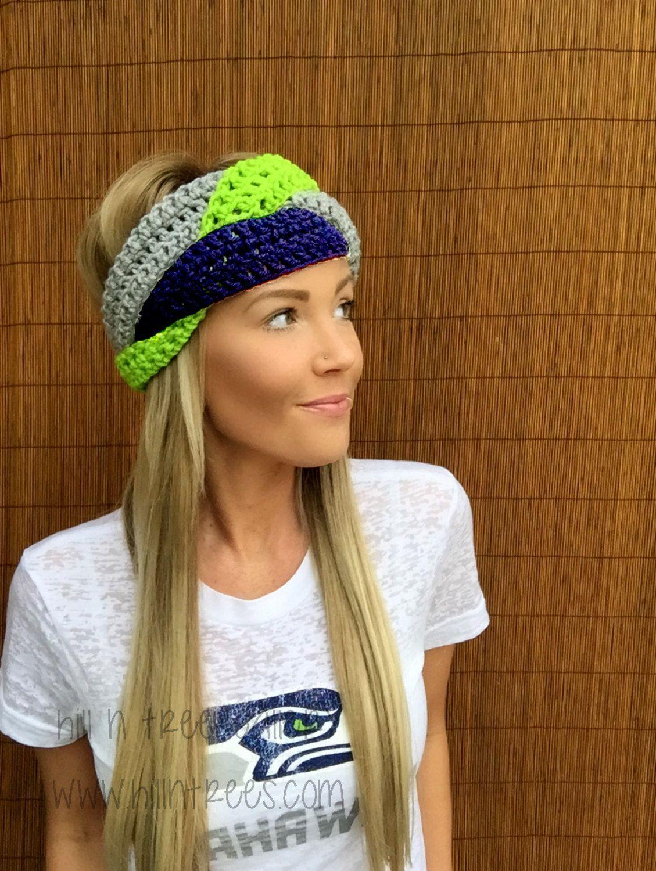 bc5b9ef662e41e Seattle Seahawks Navy Blue Lime Green Grey Hawks Braid Head Hair Accessory  Band Earwarmer Gray Headband Fashion Girl Woman Unisex Boy Men #crochet  #turban