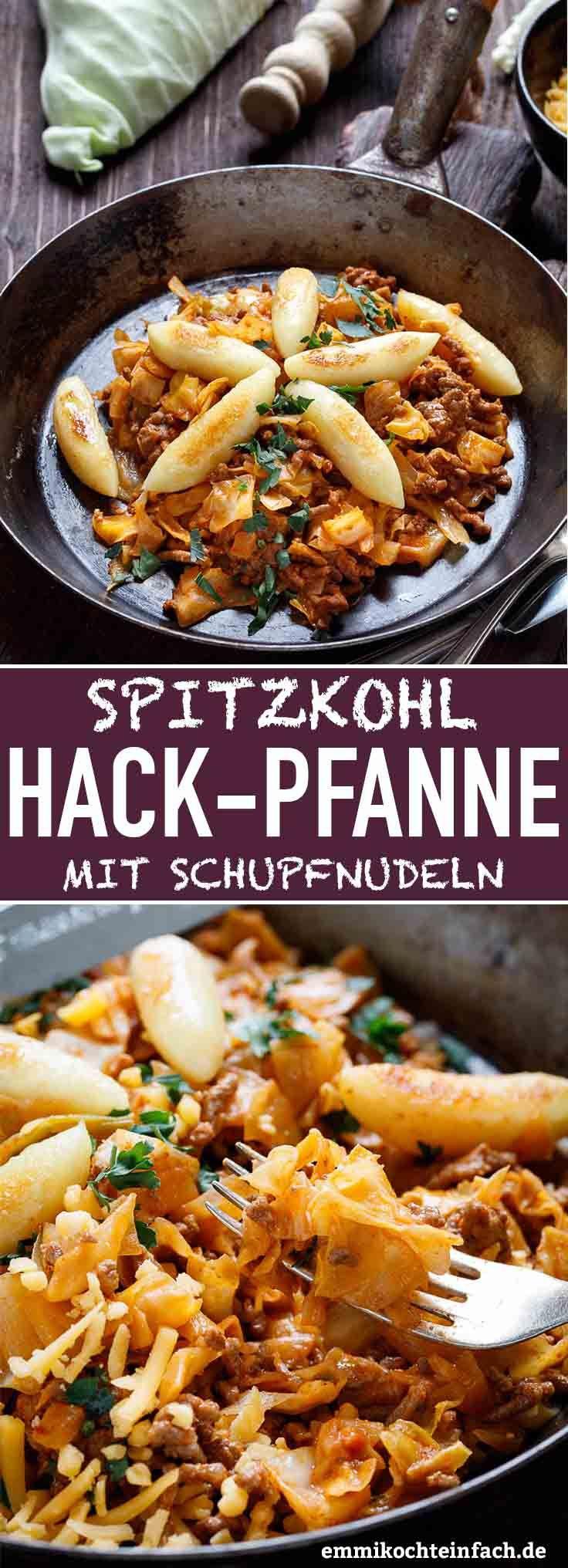 Spitzkohl Hackpfanne mit Schupfnudeln - emmikochteinfach