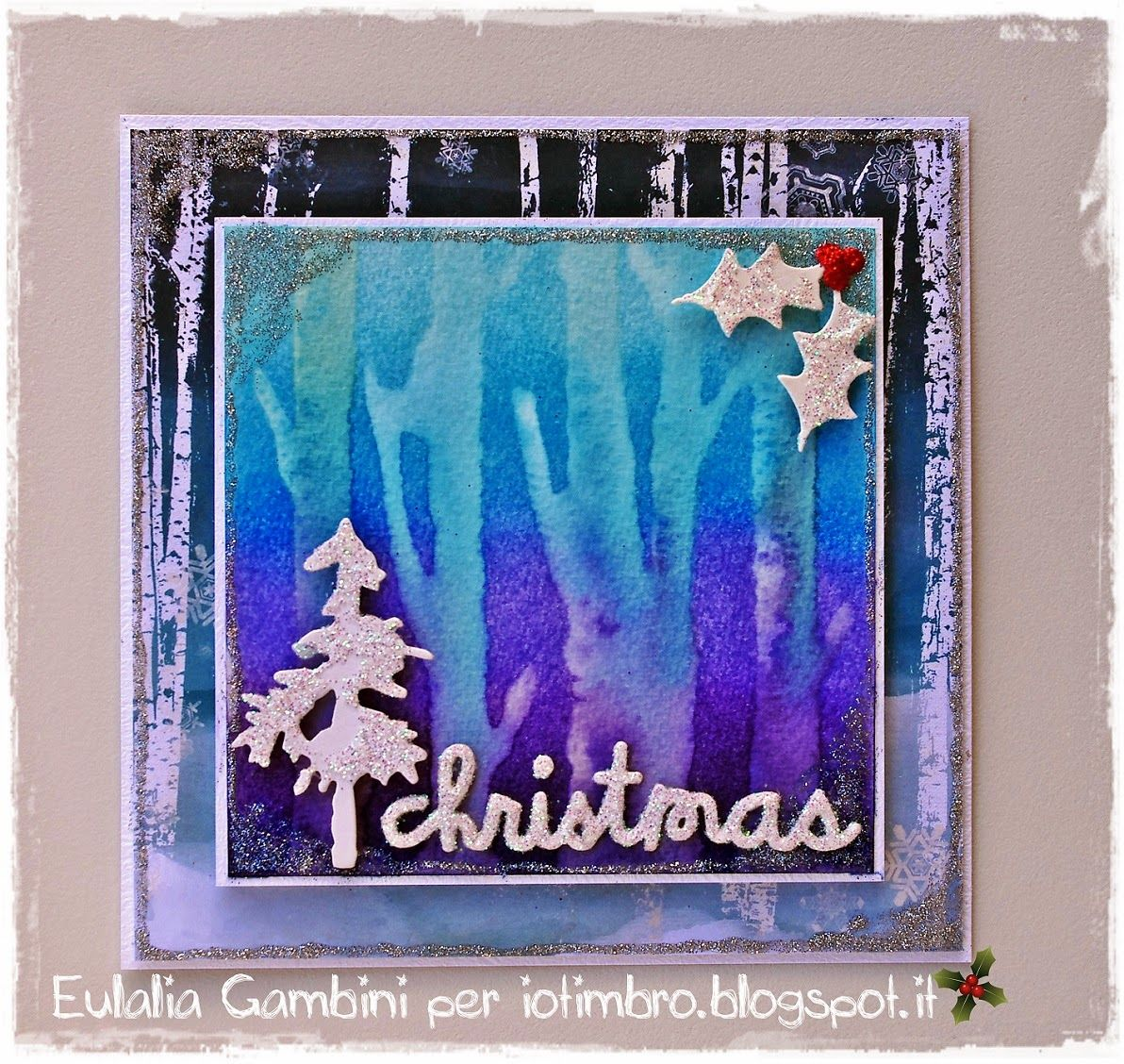 "Hero Arts ""Tree Trunks"" stamp with distress ink - by L'Universo di Eu - Merry Christmas... e che Natale sia."
