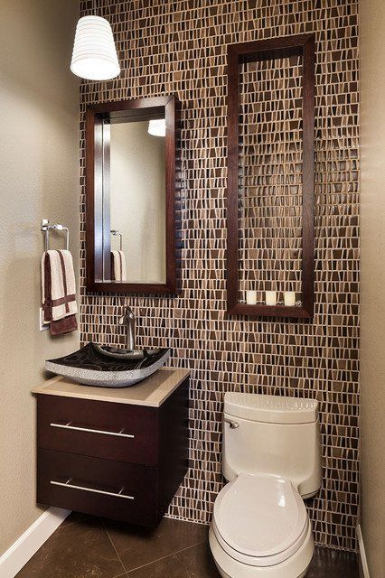 Powder Room Design Ideas sparkling powder room design with cool mosaic wall tiles white stand sink and chrome towel rail 25 Modern Powder Room Design Ideas