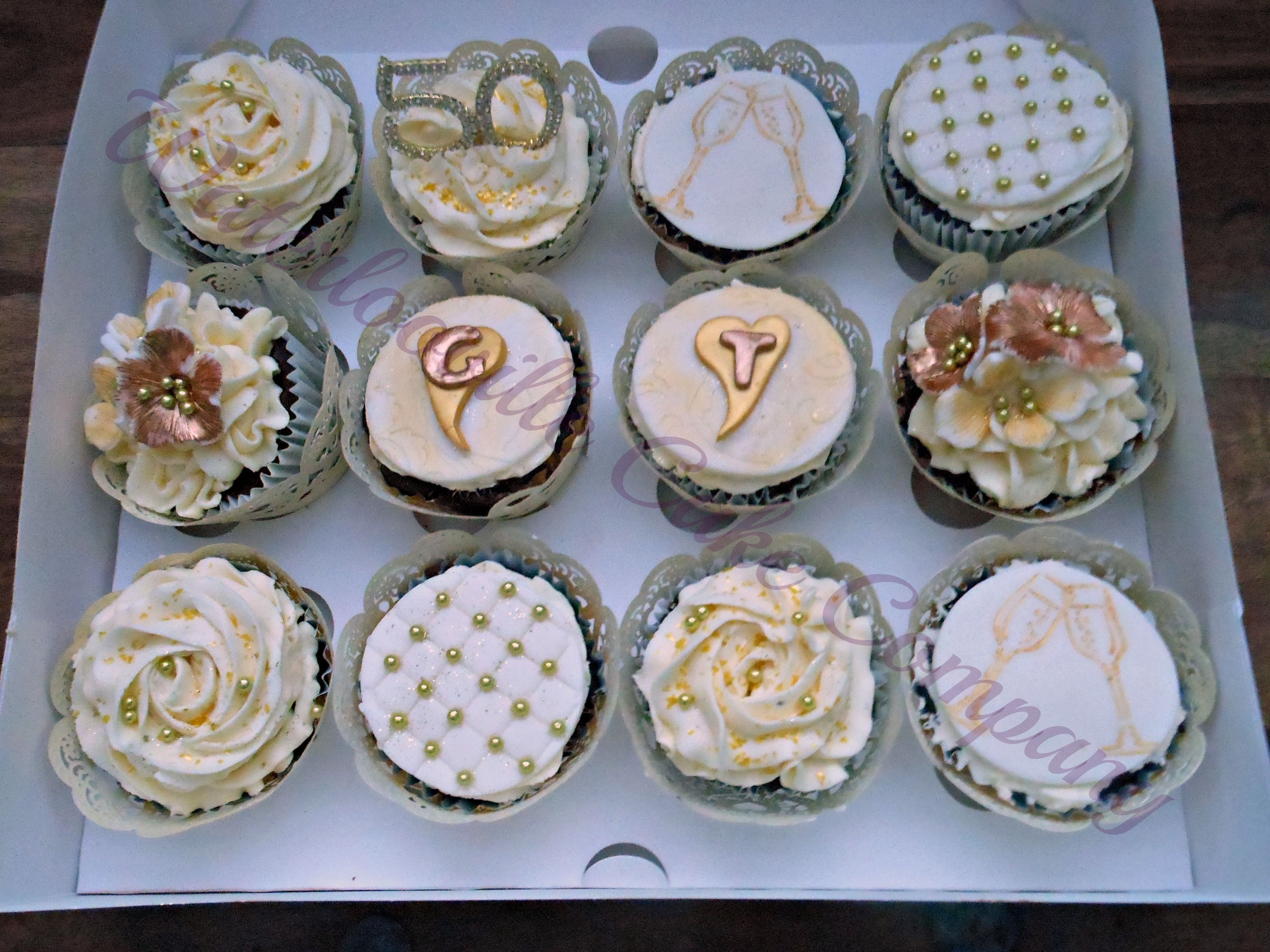 cupcake recipes for bridal shower%0A by Waterlooville Cake Company  Golden Wedding Anniversary Cupcakes