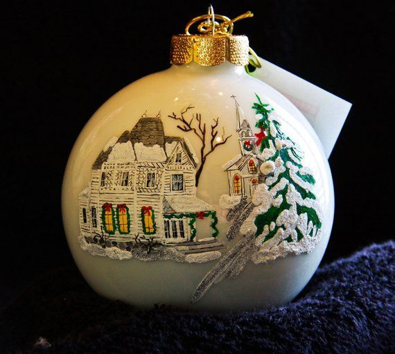 Hand Painted Ornament-House And Church-Item 331 #churchitems Hand Painted Ornament-House And Church-Item 331 #churchitems