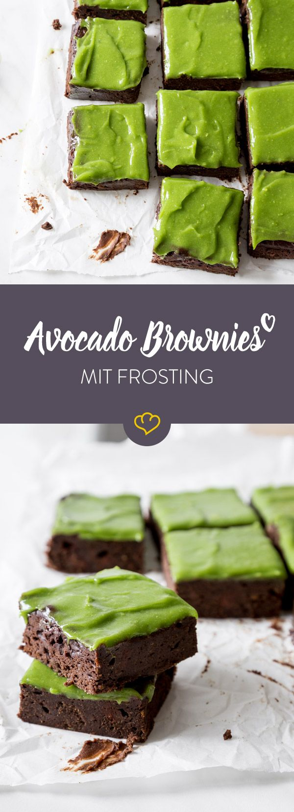 Avocado Brownies mit Frosting – schokoladig, fudgy, grün #frostings