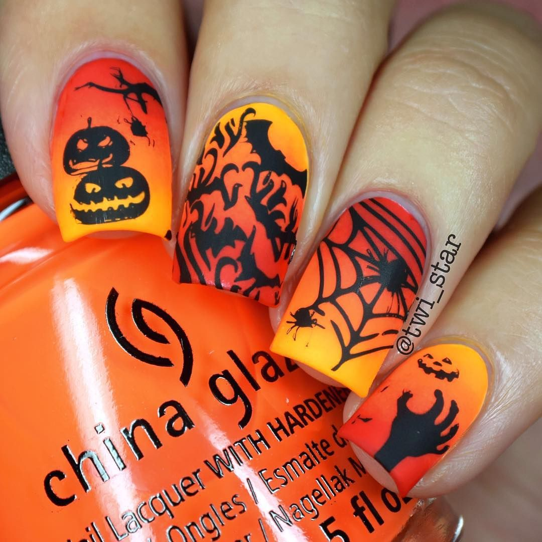 """Hot Hot Hot Halloween Nails! ChG Sun Worshipper, Lady and the Vamp and the Heat is On. Stamped w/ Winstonia Halloween Plate."