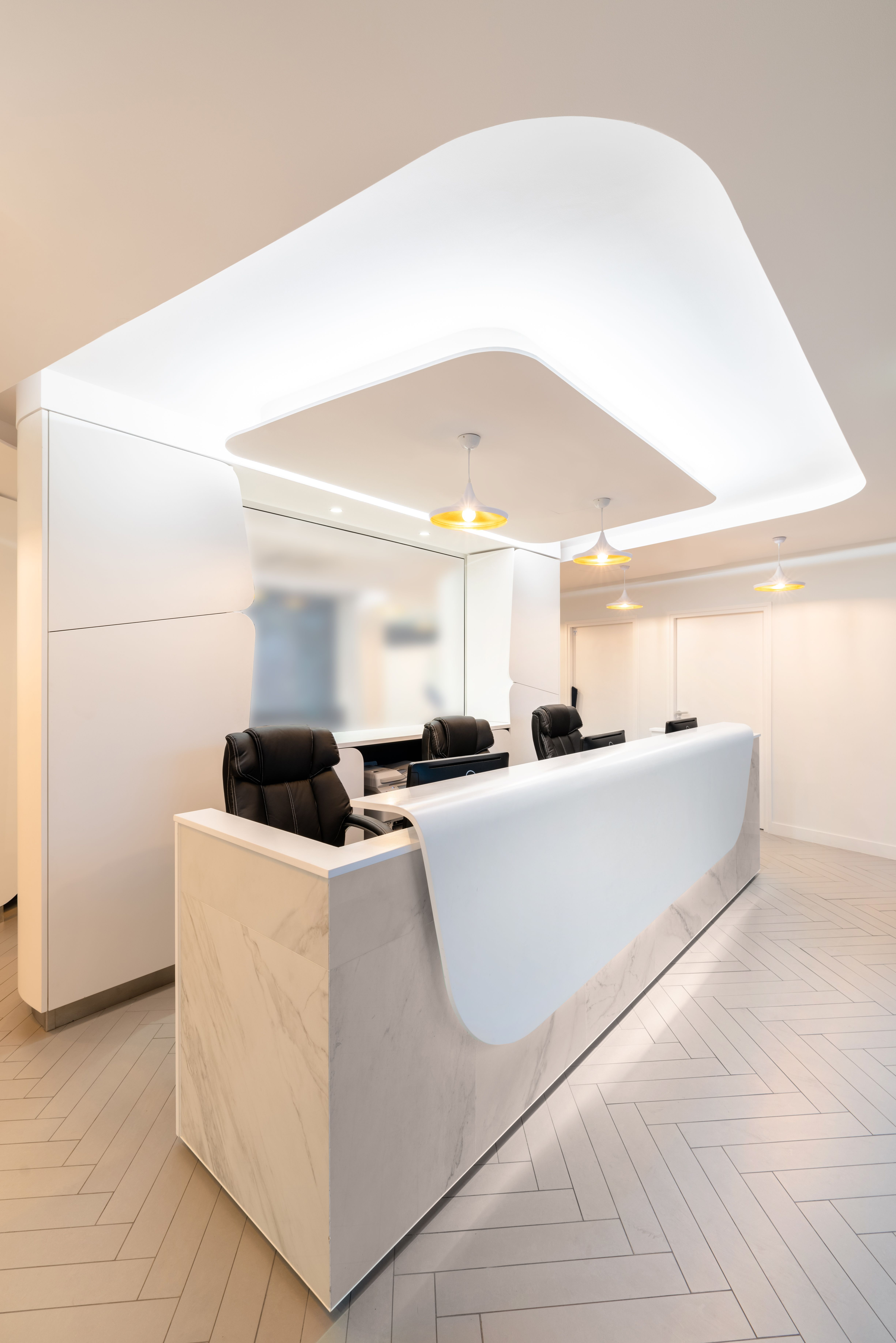 Accueil Cabinet Dentaire Design Sol Motif Chevron Borne Accueil