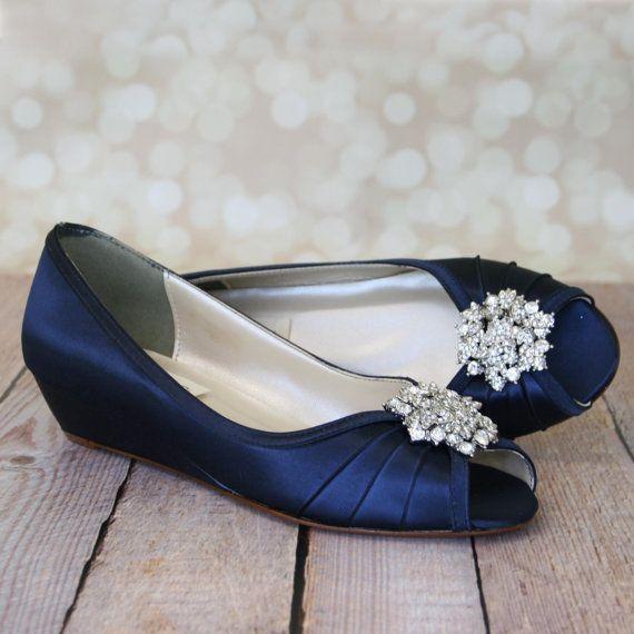 60fd347e26f6 Wedding Shoes Navy Blue Peeptoe Wedge by DesignYourPedestal ...