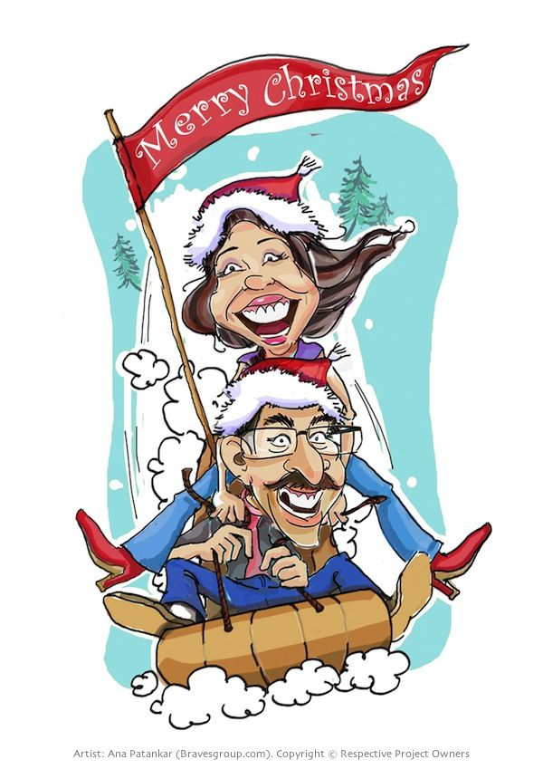 Couple Caricature with Christmas theme | Caricatures By ana patankar ...