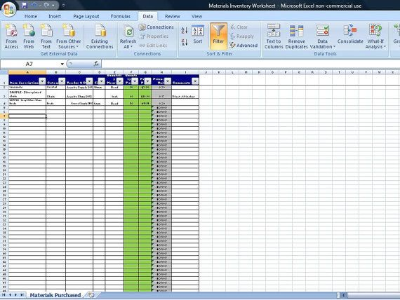 Excel Spreadsheet - Materials Inventory Spreadsheet, Vendor Pricing