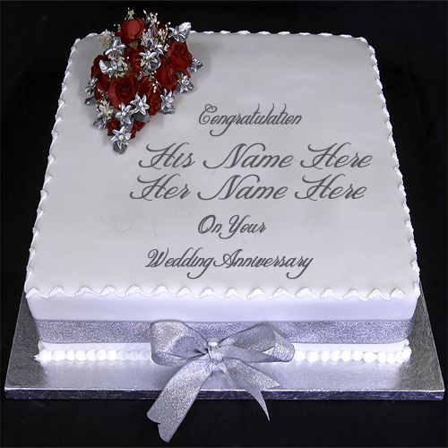 Wedding Day Images With Name: Beautiful Decorative Cake With Red Flower Photo.Wedding