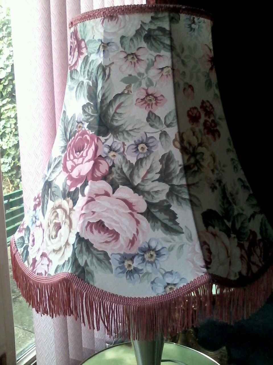 Vintage Large Floral Cotton Lampshade For Standard Lamp In Home