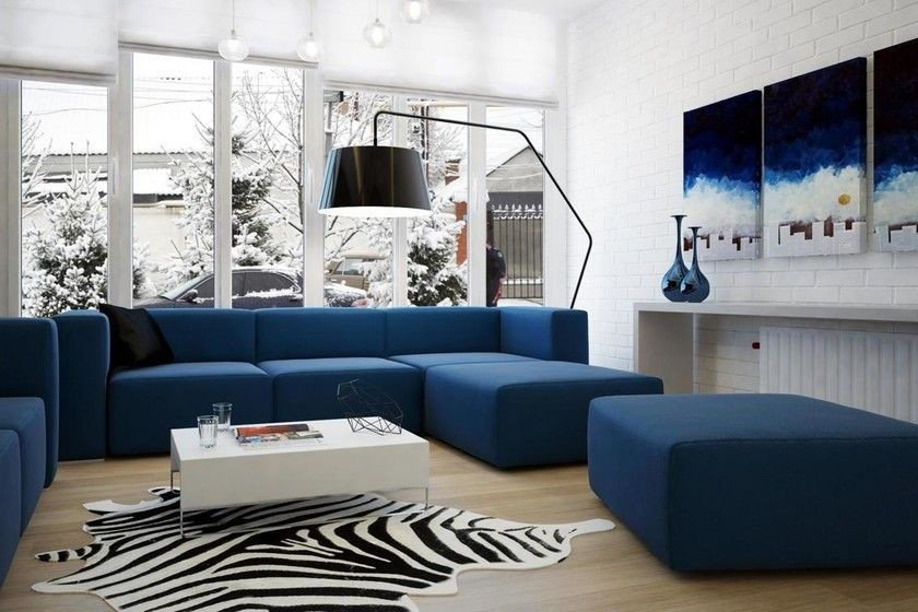 decora tu sala con un mueble azul