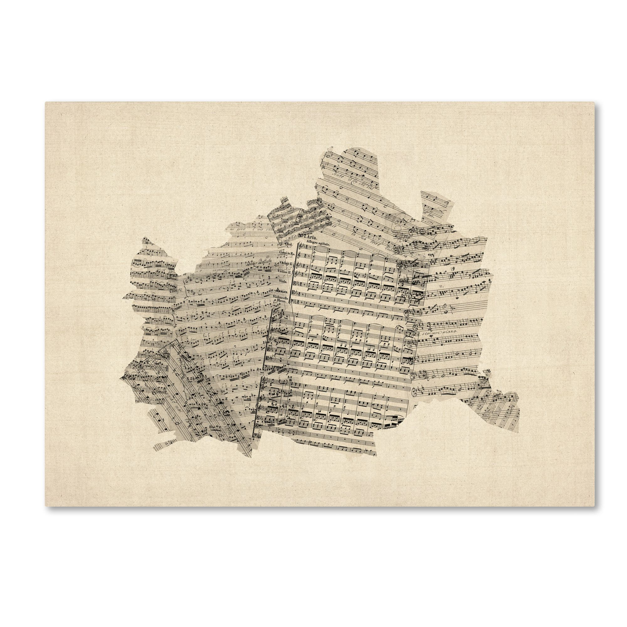 Old Sheet Music Map Of Vienna Austria Graphic Art Print On Wrapped Canvas Old Sheet Music Graphic Art Print Austria Map