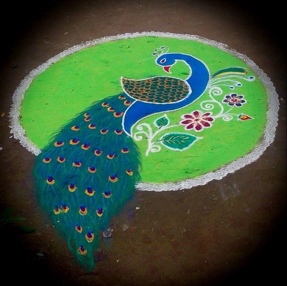 Peacock Rangoli in 2019 | Rangoli kolam designs, Easy ...