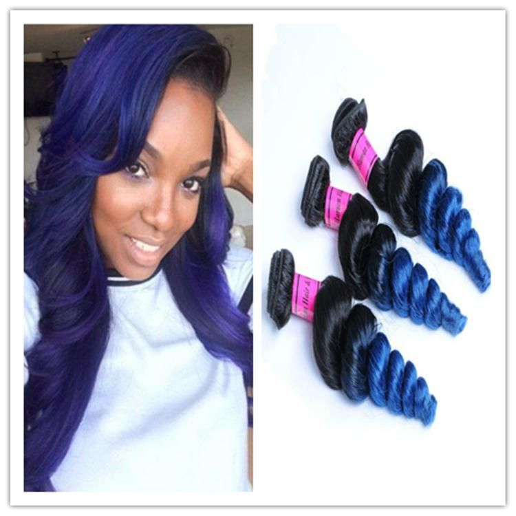 8a Black Blue Weft Hair Weave Ombre Brazilian Human Hair Loose Wave