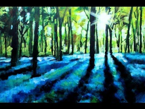 How to Paint with Acrylics on Canvas: Abstract Landscape Bluebell Forest Painting - YouTube