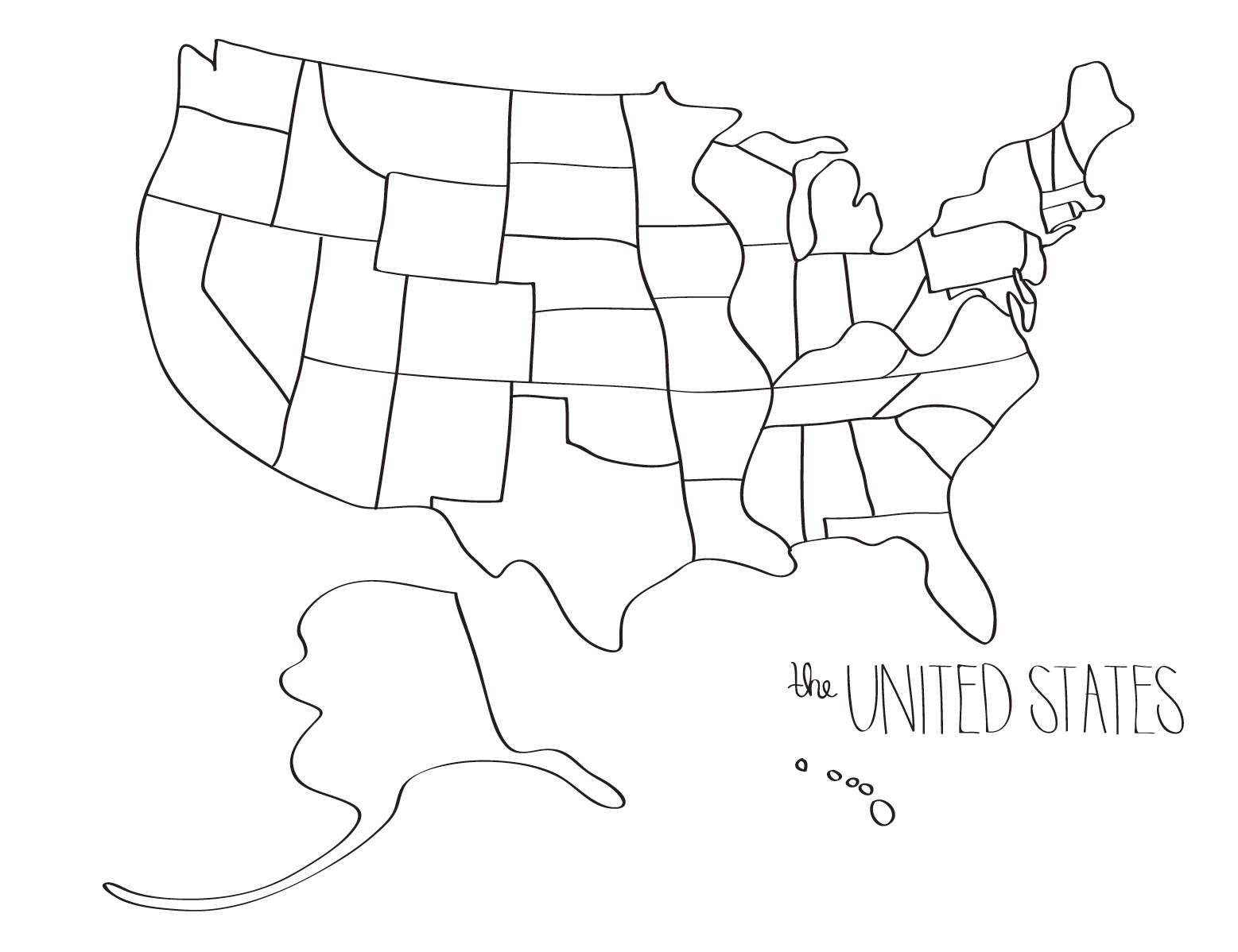 united states map drawing Learn to draw the UNITED STATES blob map style | Etsy in 2020