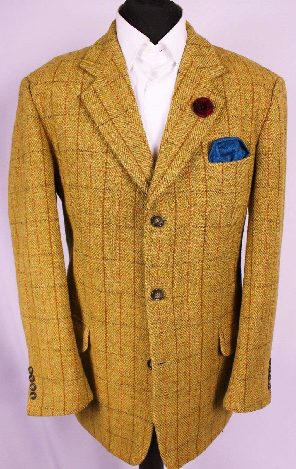 Harris Tweed Blazer Jacket Windowpane Wedding Country 44R