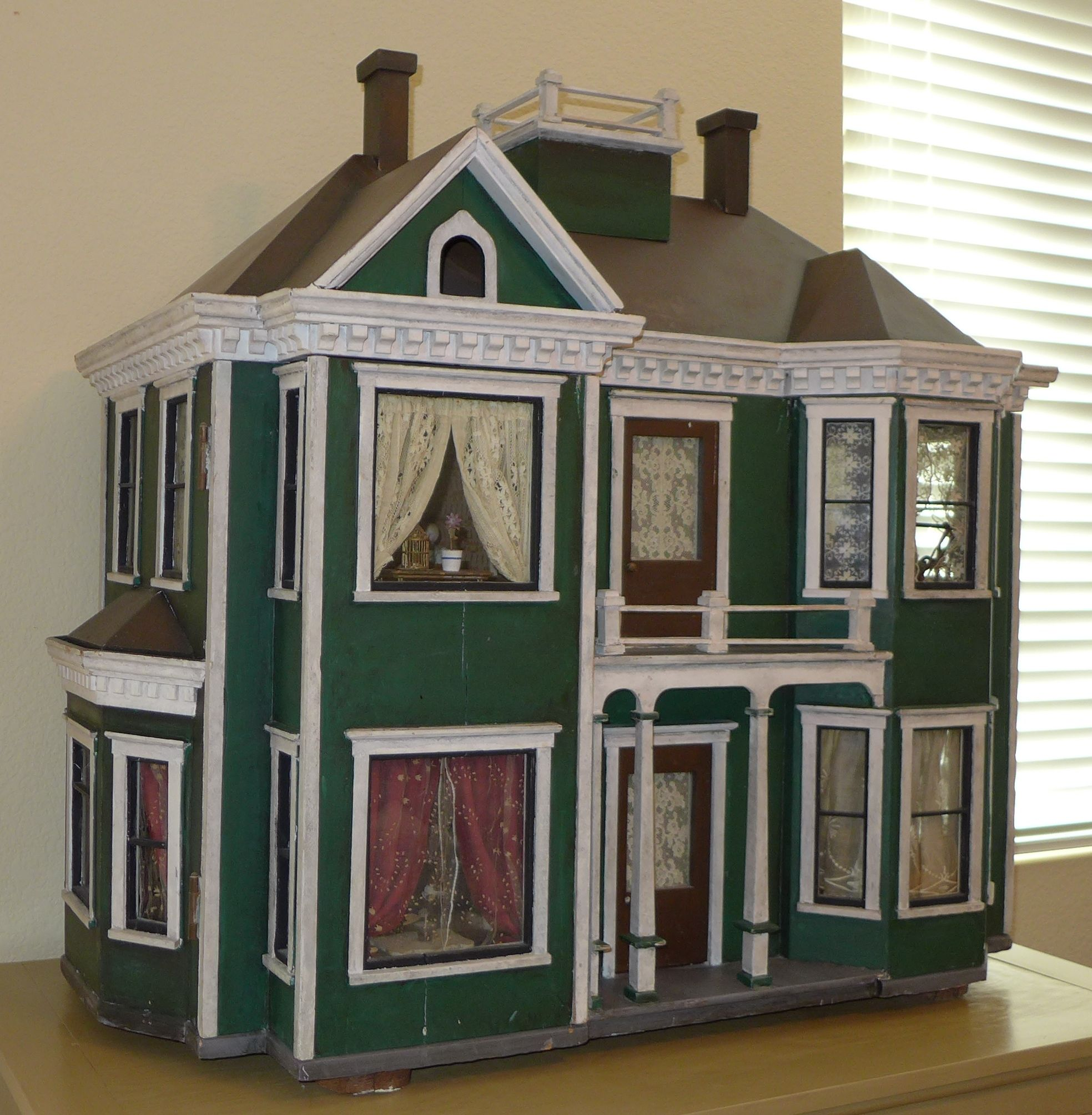 Design Homemade Doll Houses beautiful homemade dollhouse has bay windows widows walk front balcony and double chimneys