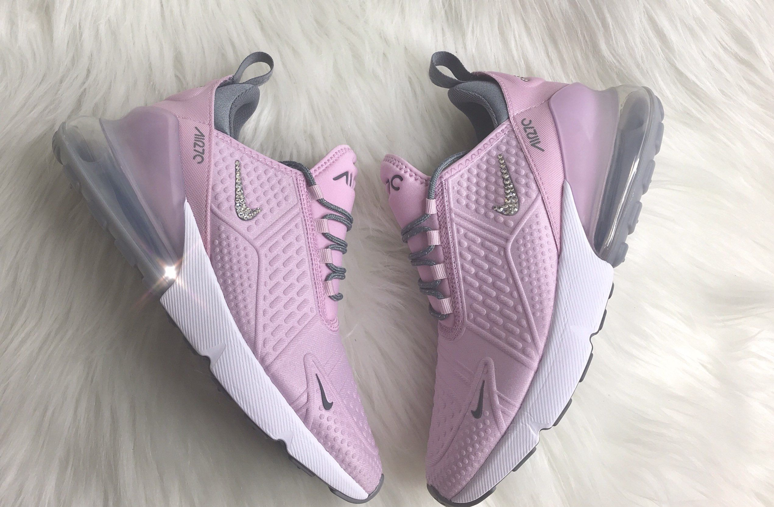 Pink BLING Nike Air Max 270 With Swarovski Crystals Women's