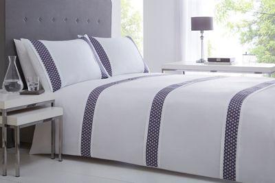 J By Jasper Conran Purple 300 Thread Count Diamond Print Forbury Bedding Set