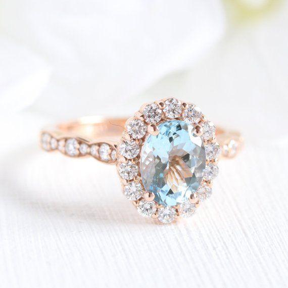 Halo Diamond Aquamarine Engagement Ring in 14k Rose Gold Scalloped Diamond Wedding Band 8x6mm Gemstone Ring (Bridal Wedding Set Available)