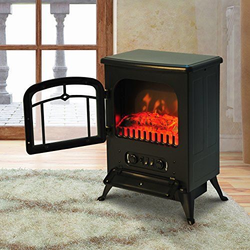 HOMCOM Freestanding Electric Fire Place Indoor Heater Glass View ...