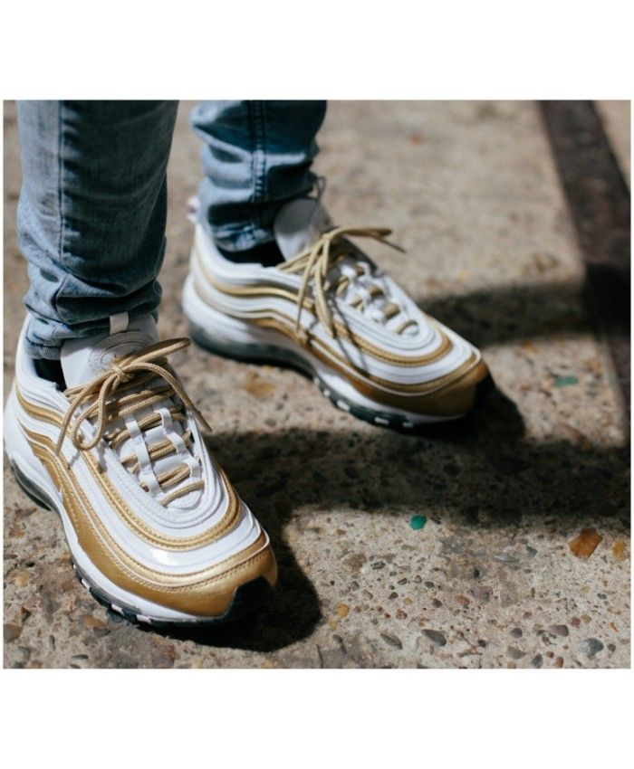 This Nike Air Max 97 White Gold Mens Trainer Is Popular And Welcomed By Young People Nike Air Max Nike Air Max 97 Nike Air