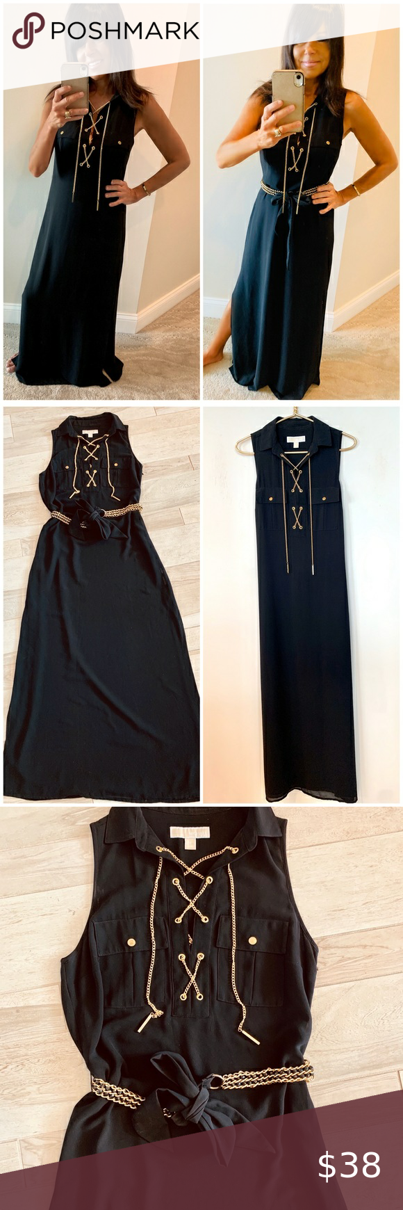 Micheal Kors Black Lace Up Gold Chain Maxi Dress Maxi Dress Black Lace Micheal Kors [ 1740 x 580 Pixel ]