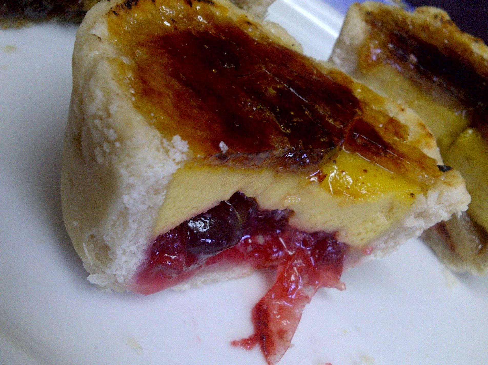 Cranberry w/Citrus-infused Custard (brûléed tart)