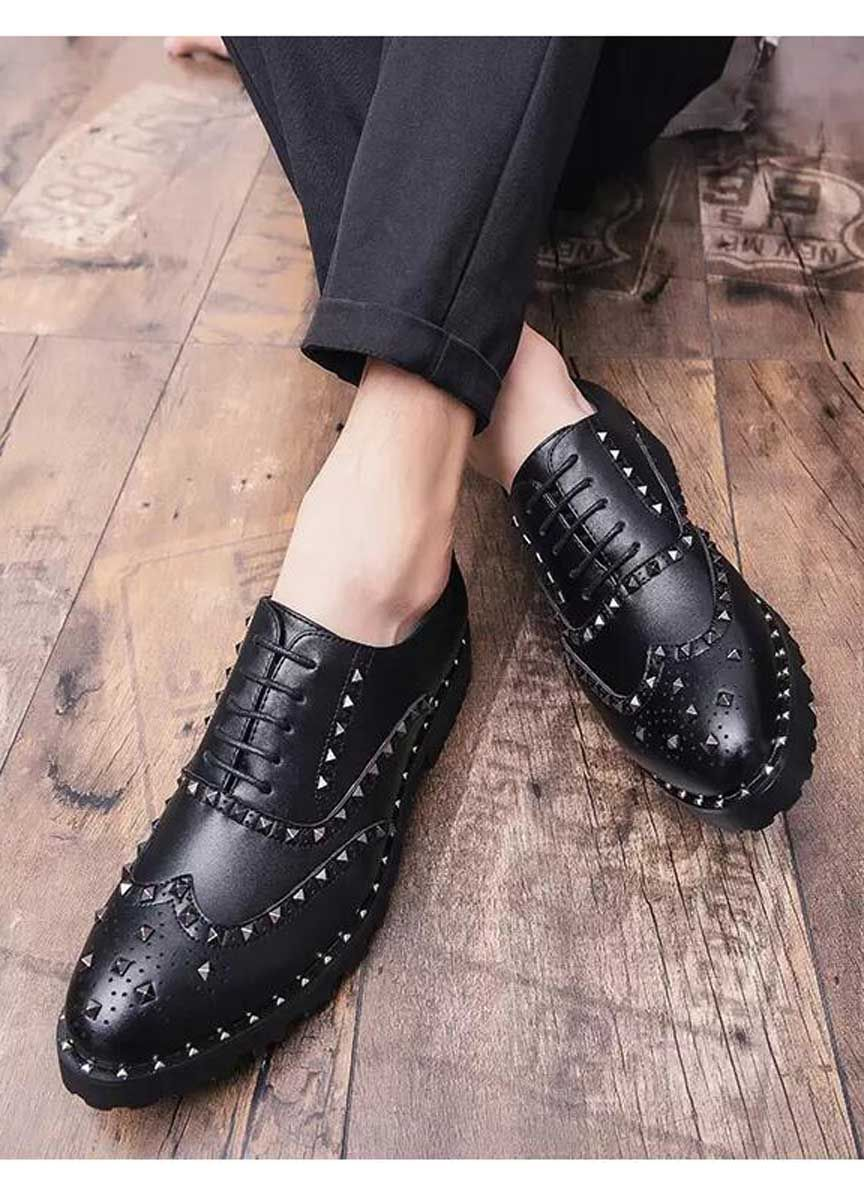 Black Brogue Leather Oxford Dress Shoe With Studs Dress Shoes Men Leather Oxfords Black Brogues [ 1200 x 864 Pixel ]