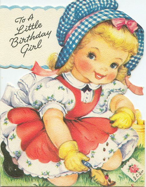 Vintage Birthday Card Gardener Girl