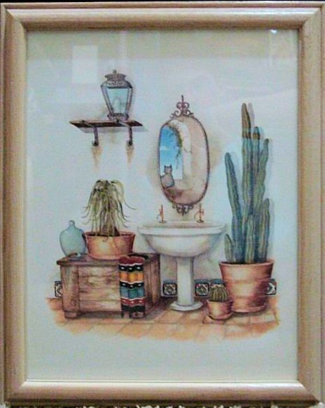 carol jean cat in the bathroom window lithograph framed artbathroom windows