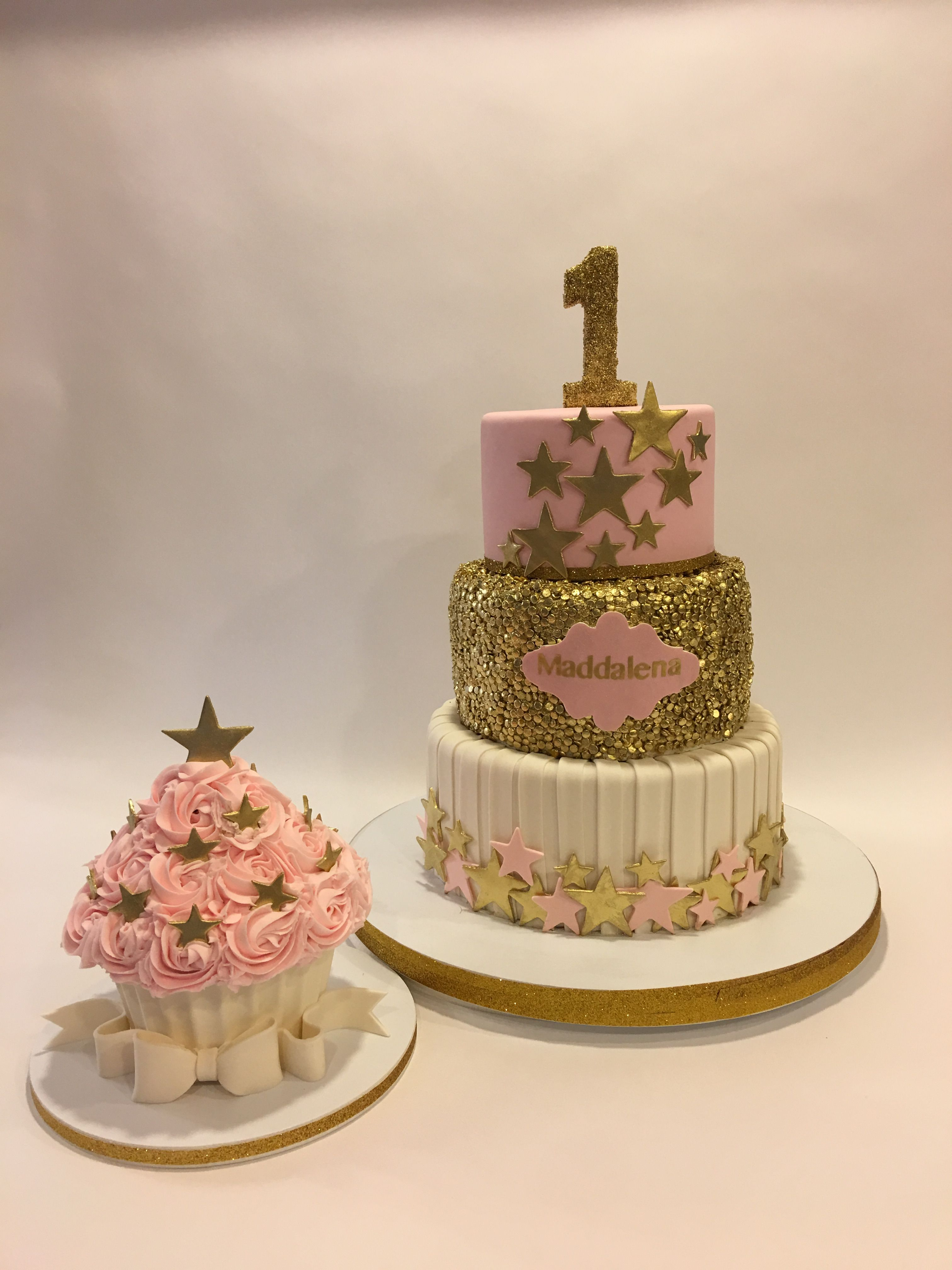 Twinkle Twinkle Little Star 1st Birthday Cake With Smash Cake