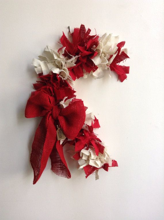 Burlap Candy Cane Wreath Christmas/winter time ideas Pinterest