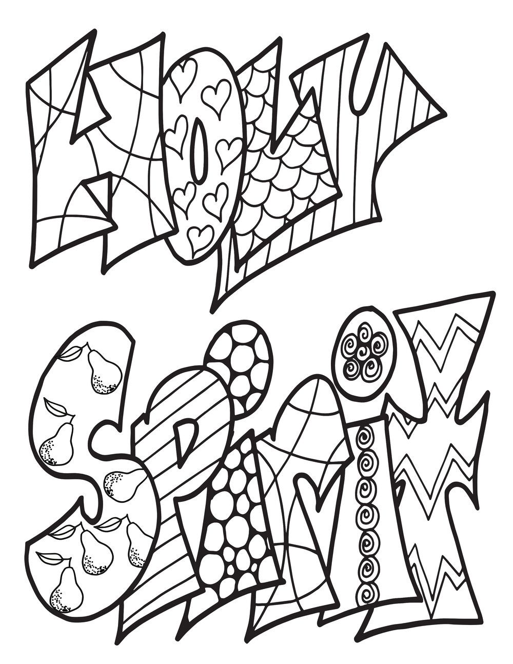 HOLY SPIRIT CLASSIC DOODLE - Free Coloring Page in 2020 ...
