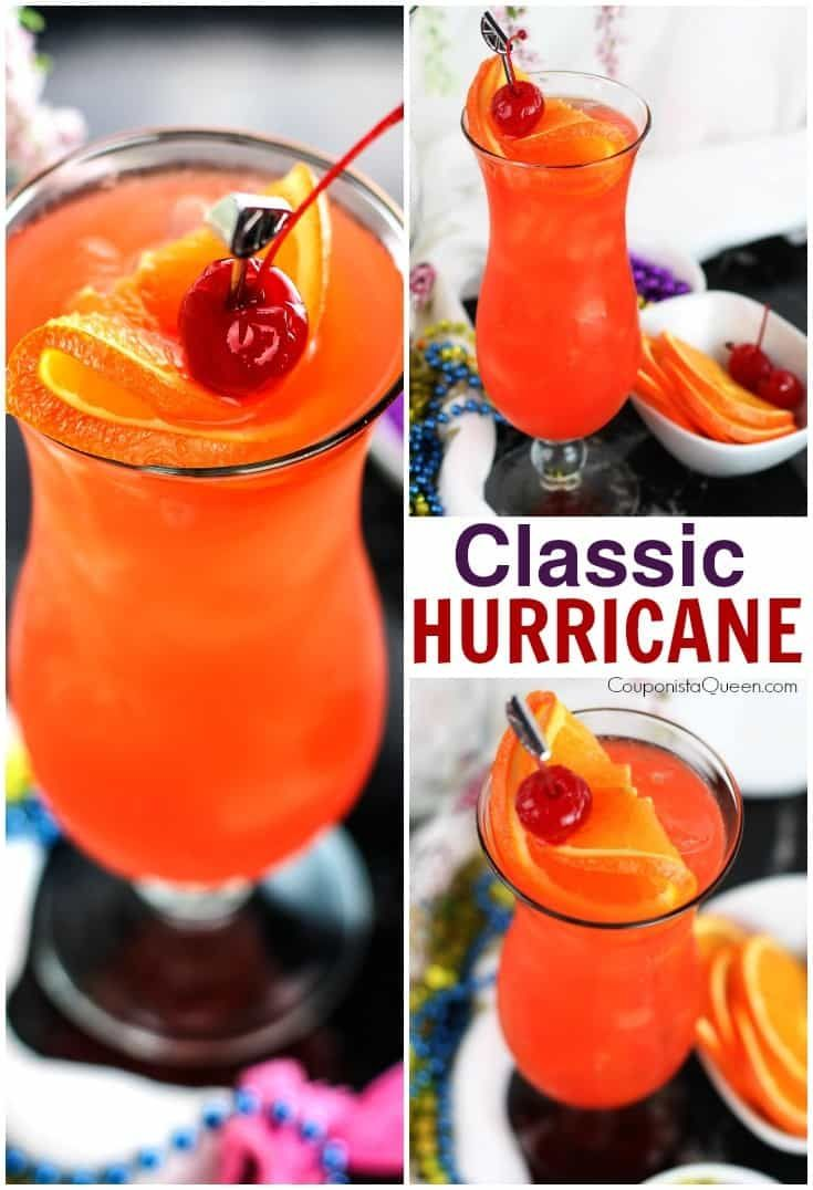 New Orleans Style Classic Big Easy Hurricane Cocktail